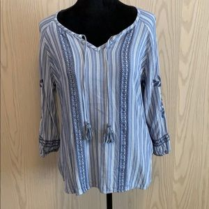 Boho blue striped and floral blouse, NWOT